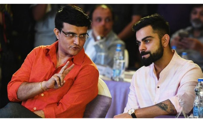 Sourav Ganguly with Virat Kohli