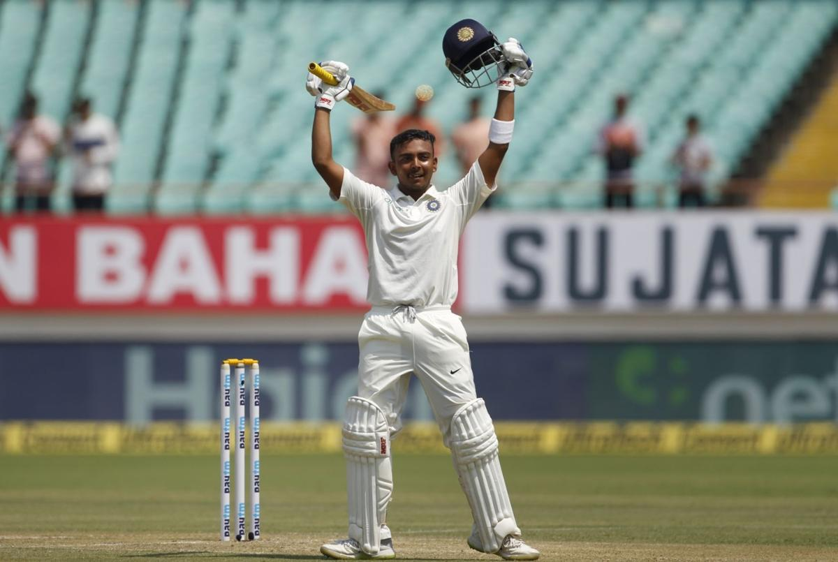 Prithvi Shaw started off his Test career with a century in Rajkot | AFP