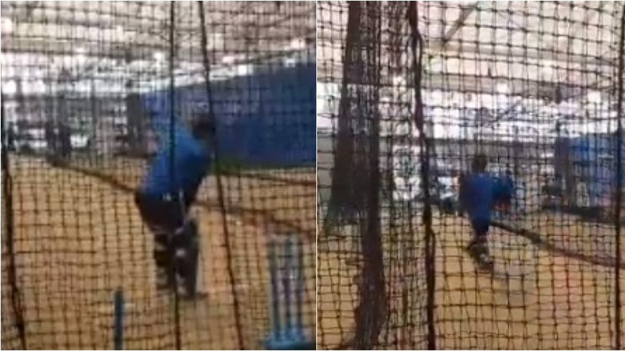 AUS v IND 2018-19: WATCH- MS Dhoni hits indoor nets after rain interruption