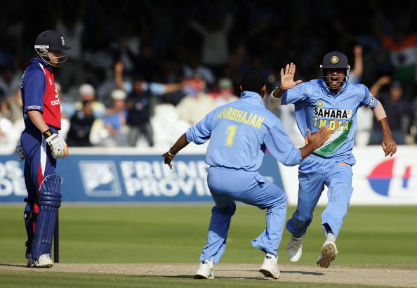 Mohammad Kaif and Harbhajan Singh celebrating the wicket of Paul Collingwood | Getty