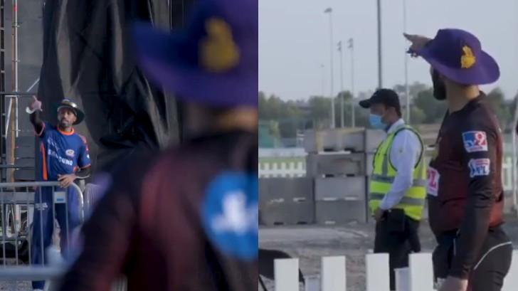 IPL 2020: WATCH - Hardik Pandya and Dinesh Karthik catch-up while maintaining social distancing