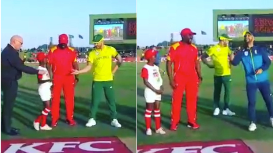 WATCH: Faf du Plessis brings his 'lucky man' for the toss in first T20I against Zimbabwe