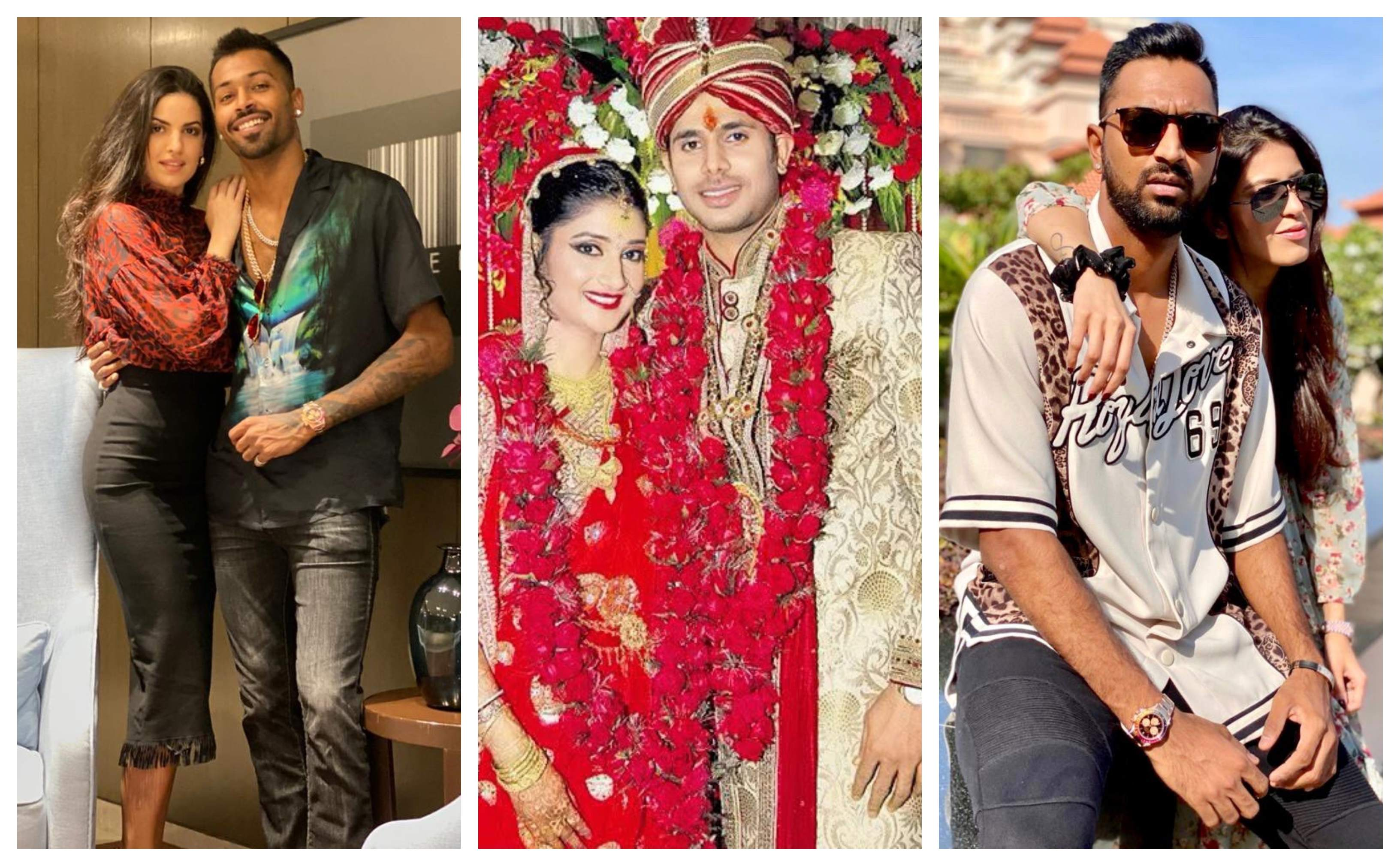Hardik Pandya, Manoj Tiwary and Krunal Pandya with their wives | Getty