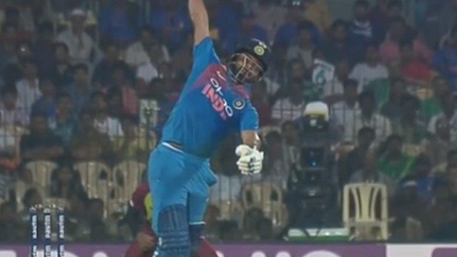 IND v WI 2018: WATCH – Rishabh Pant pulls off a breathtaking one-handed six in Chennai T20I