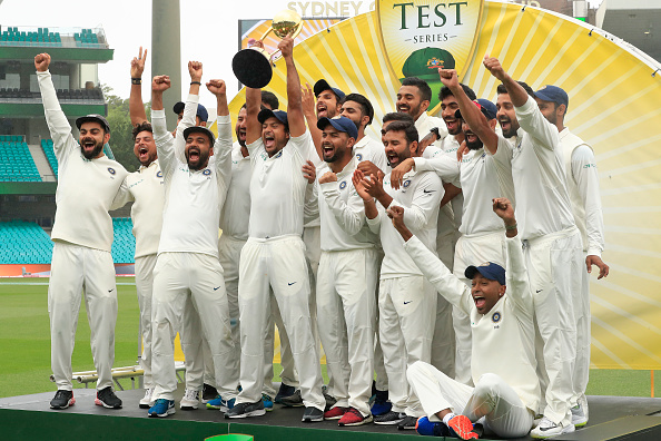 Indian cricket team celebrate winning the Border-Gavaskar Trophy down under | Getty