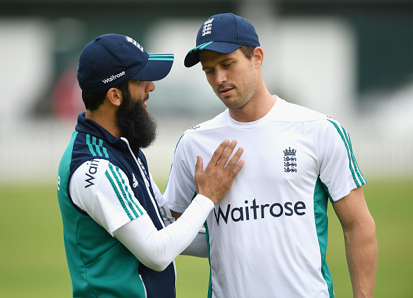 Nick Compton with Moeen Ali | GETTY