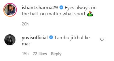 Yuvraj Singh's comment on Ishant Sharma's Instagram post