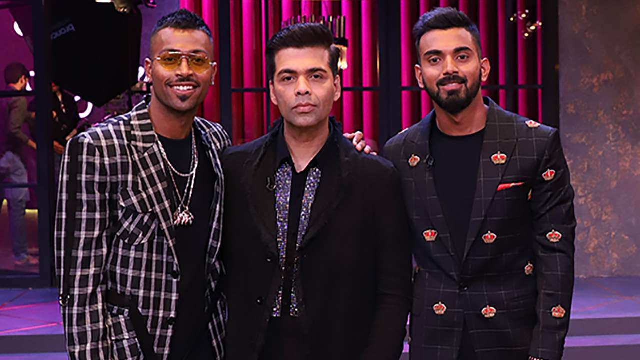 Hardik Pandya and KL Rahul with Karan Johar on the sets of Koffee with Karan