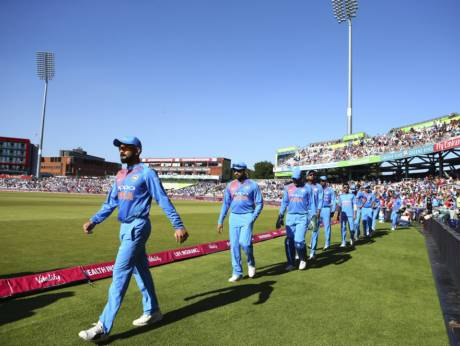 Indian cricket team taking the field against England | Source AP