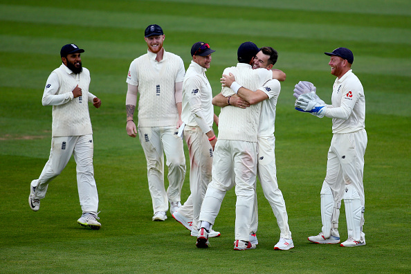 James Anderson celebrates England Test series win against India | Getty Images