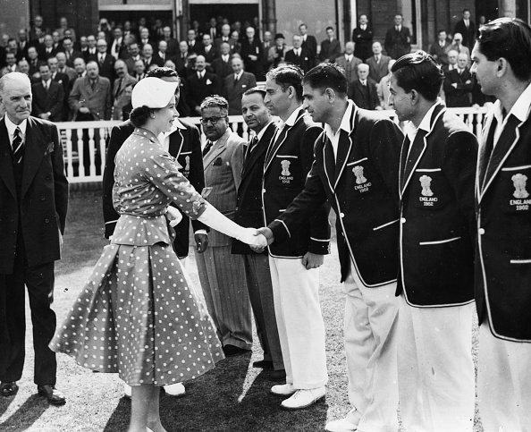 Vinoo Mankad shakes hands with Queen Elizabeth II at Lord's in 1952 | Getty