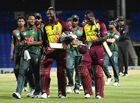 Andre Russell powered the Windies to victory. (Getty)
