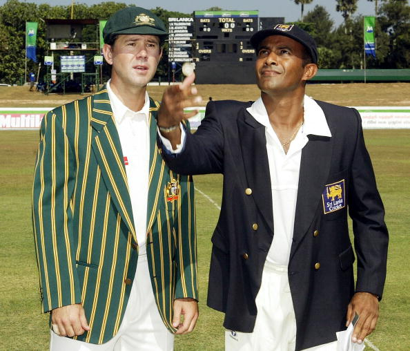 Ponting with the then Sri Lanka captain Hashan Tillakaratne at the toss | Getty