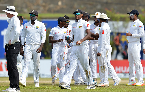 Sri Lanka cricketers leave the ground led by captain Suranga Lakmal after the victory against South Africa at Galle | Getty