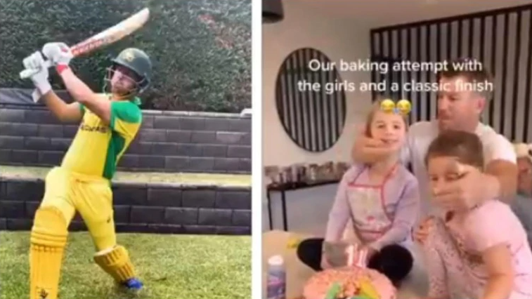 Warner admits being bored of shadow batting in backyard; bakes cake with family