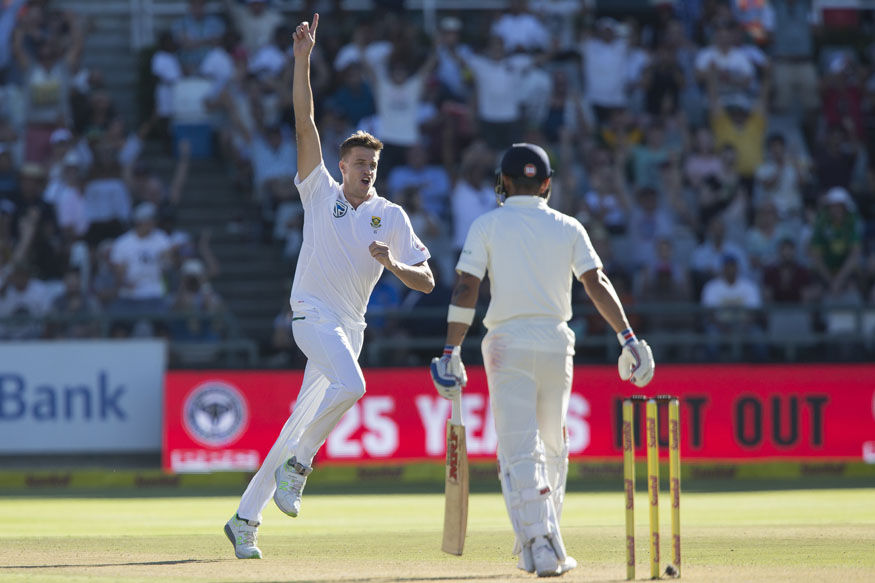 Proteas bowler Morne Morkle celebrates the wicket of India captain Virat Kohli. (AP Image)