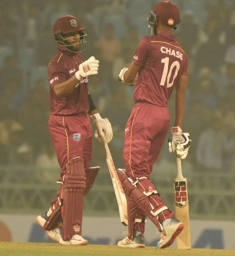 Roston Chase and Shai Hope added 163 runs for the third wicket (Source: ACBOfficials/Twitter)