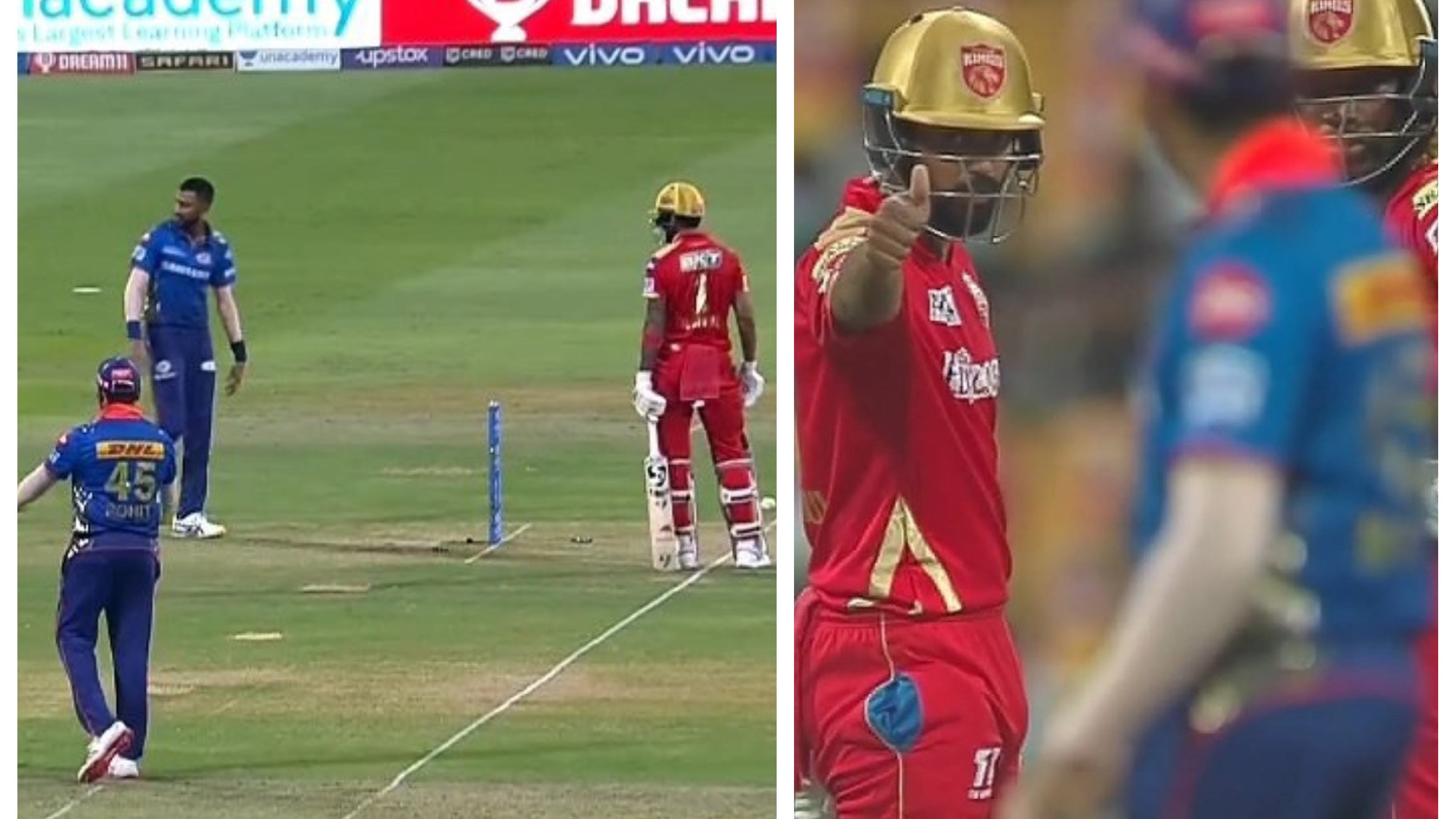 IPL 2021: WATCH – Krunal Pandya takes back run-out appeal against KL Rahul at non-striker's end