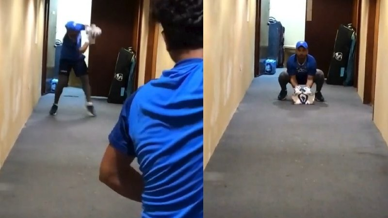 WI v IND 2019: WATCH - Kuldeep Yadav helps Rishabh Pant practice on his glovework in hotel corridor