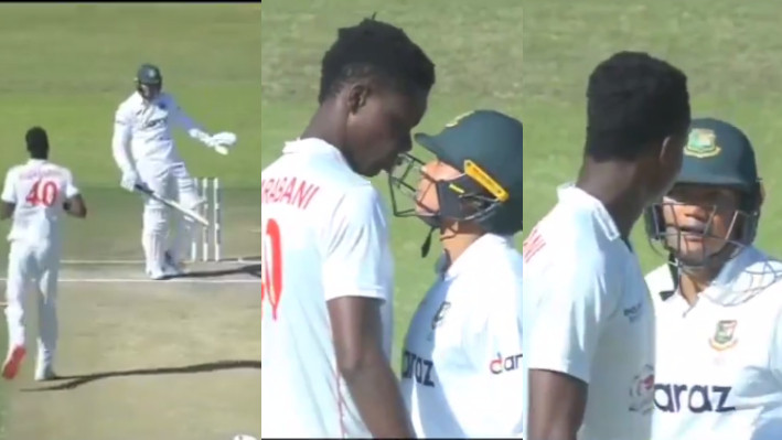 ZIM v BAN 2021: WATCH - Muzarabani and Taskin get into a scuffle in the one-off Test