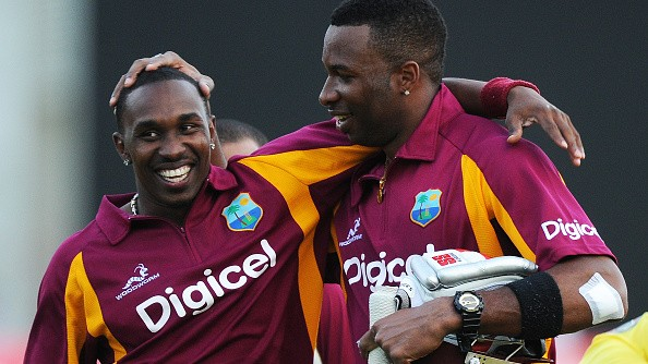 Bravo congratulates Pollard in a cheeky manner on becoming West Indies' new white-ball captain