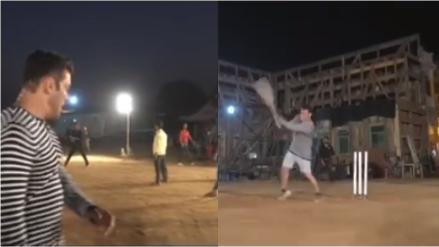 WATCH- Salman Khan plays cricket on the sets of his movie to promote sports in India