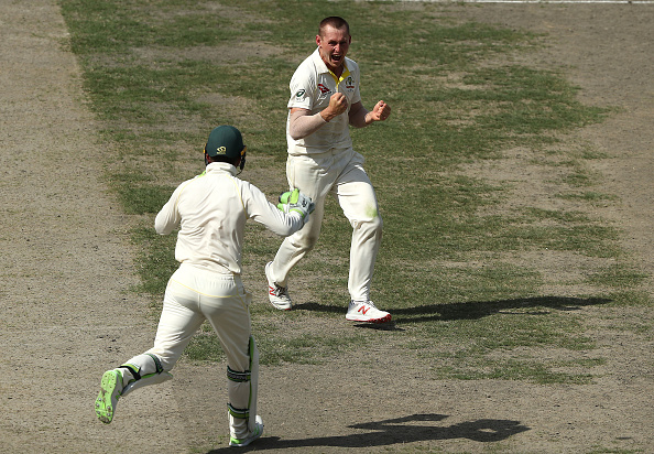 Marnus Labuschagne celebrates his maiden Test wicket in Dubai | Getty Images