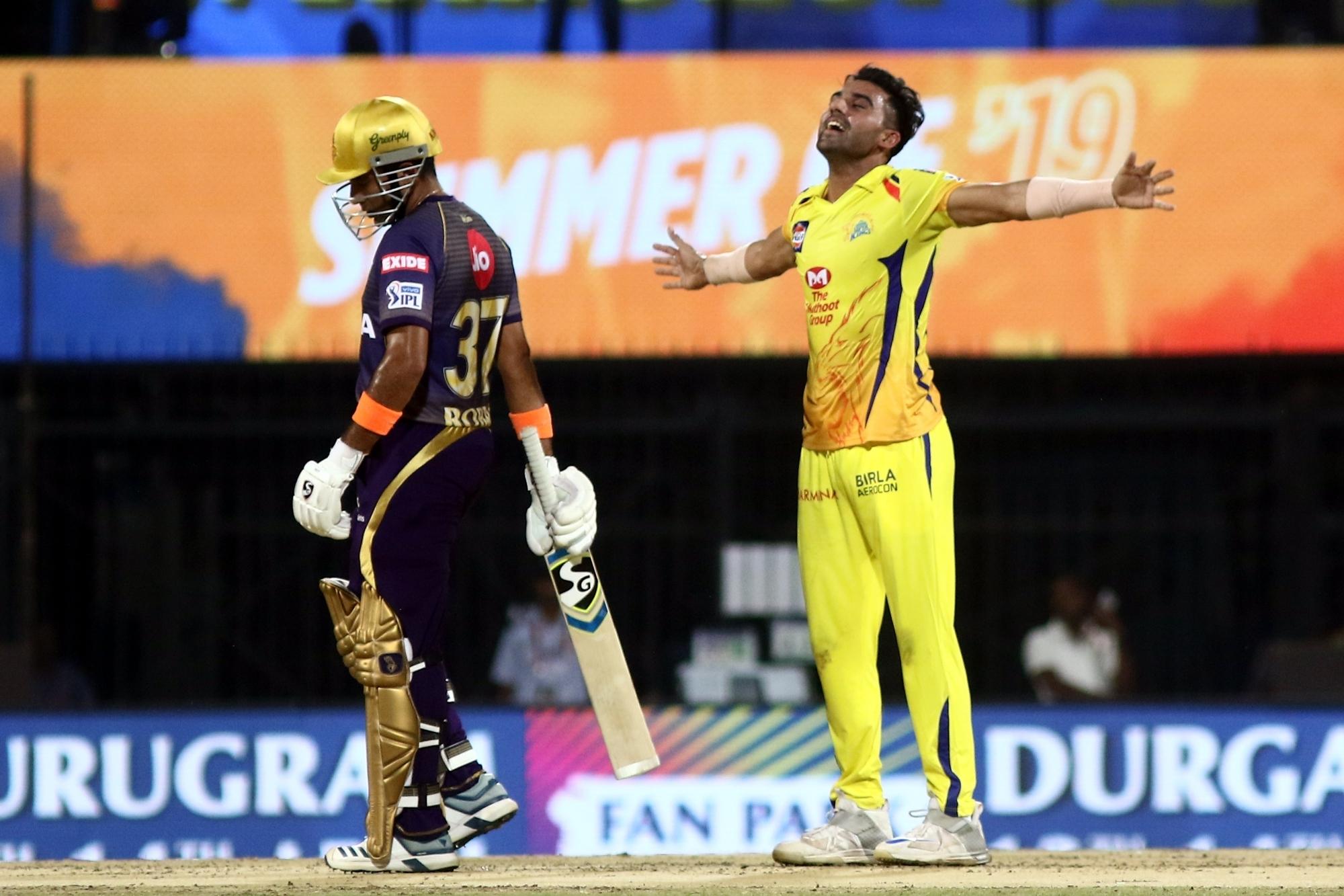 Man of the Match Deepak Chahar took 3 wickets against KKR (photo - IANS)