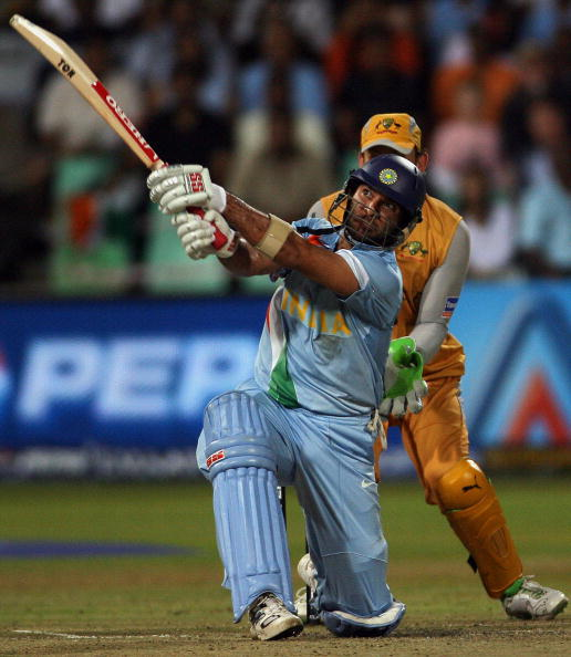 Yuvraj Singh lofts a ball for a six against Australia during the semi-final of ICC WT20 2007 | Getty
