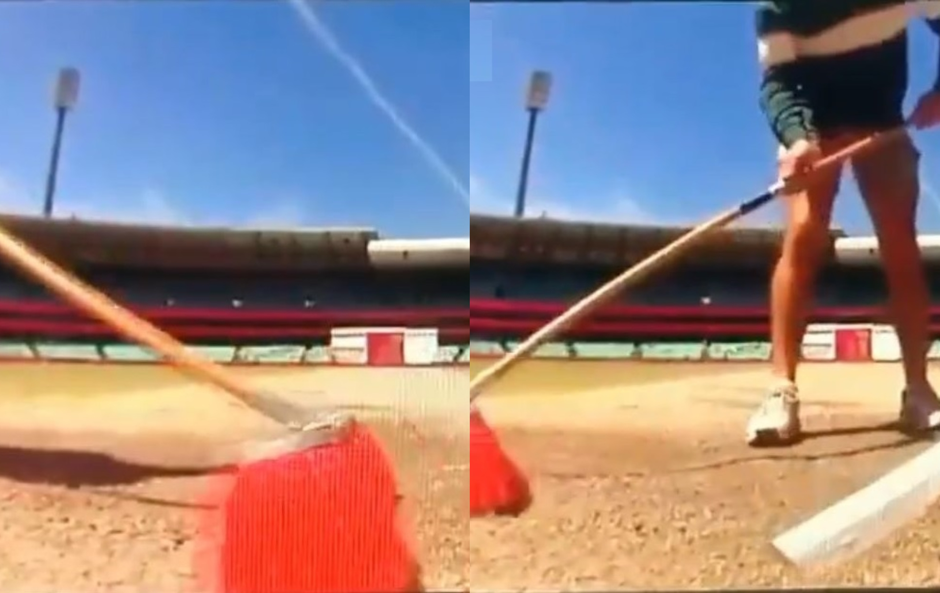 New extended footage shows ground staff already wiping off any marks during that break