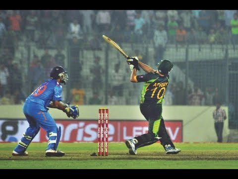 Afridi hitting Ashwin for two sixes