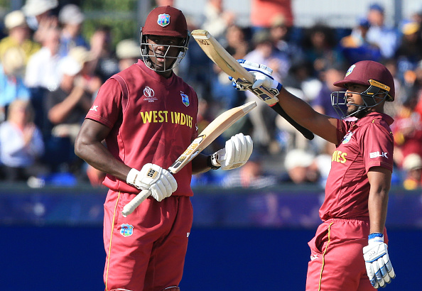 Pooran celebrates his World Cup century against Sri Lanka | Getty Images