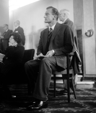 Ted Dexter sitting during a session of Conservative Party