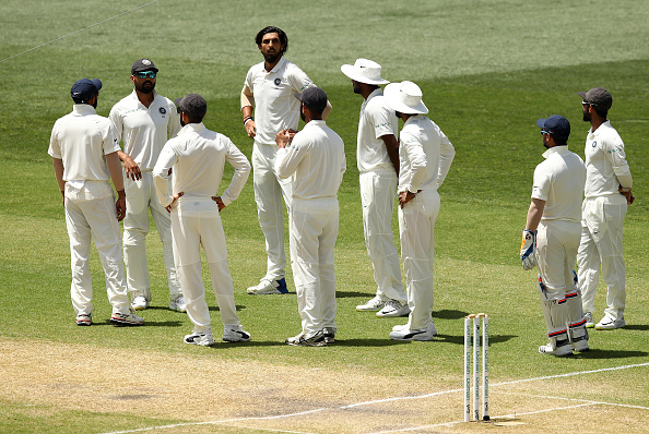 Ishant got the batsman out trapped in front but was later punished for overstepping the crease | Getty