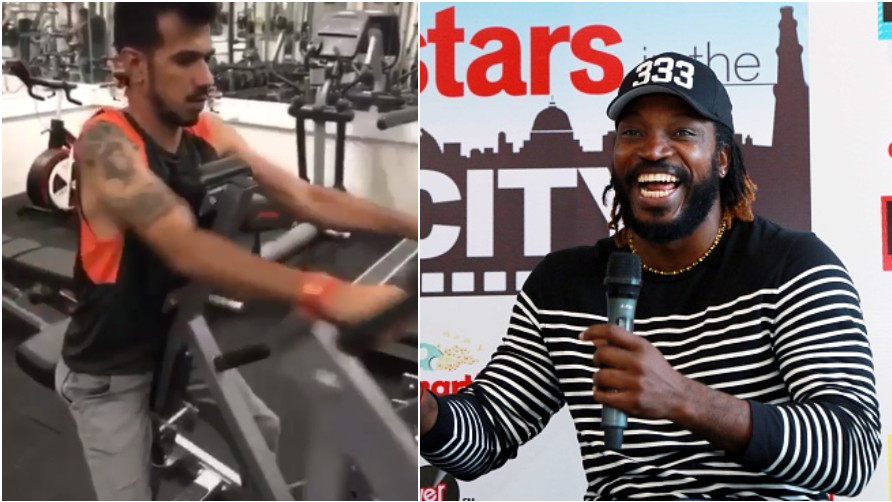 Yuzvendra Chahal roasted for his workout video by Chris Gayle