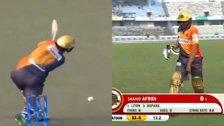 BPL 2019-20: WATCH- Shahid Afridi earns a mortifying batting record in competitive cricket