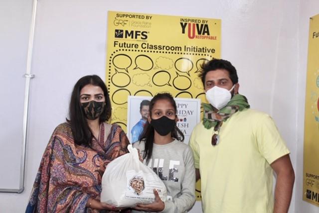Suresh Raina with wife Priyanka at the Govt Composite Middle School, Noor Nagar Sihani, Ghaziabad