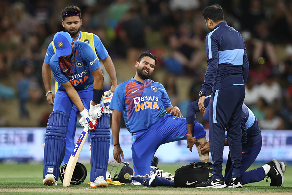 Rohit Sharma injured his calf in the final T20I of the series against New Zealand | Getty