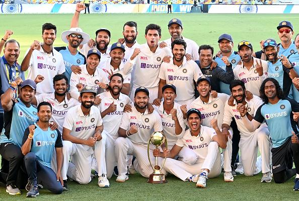 Team India with the Border-Gavaskar Trophy   Getty