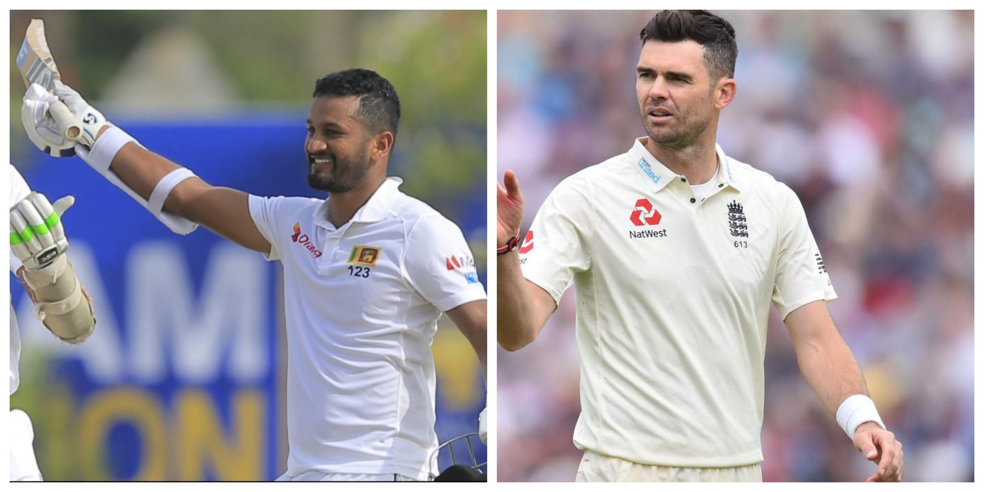 Dimuth Karunaratne and James Anderson