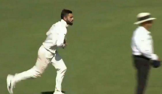 Virat Kohli bowling during the practice match