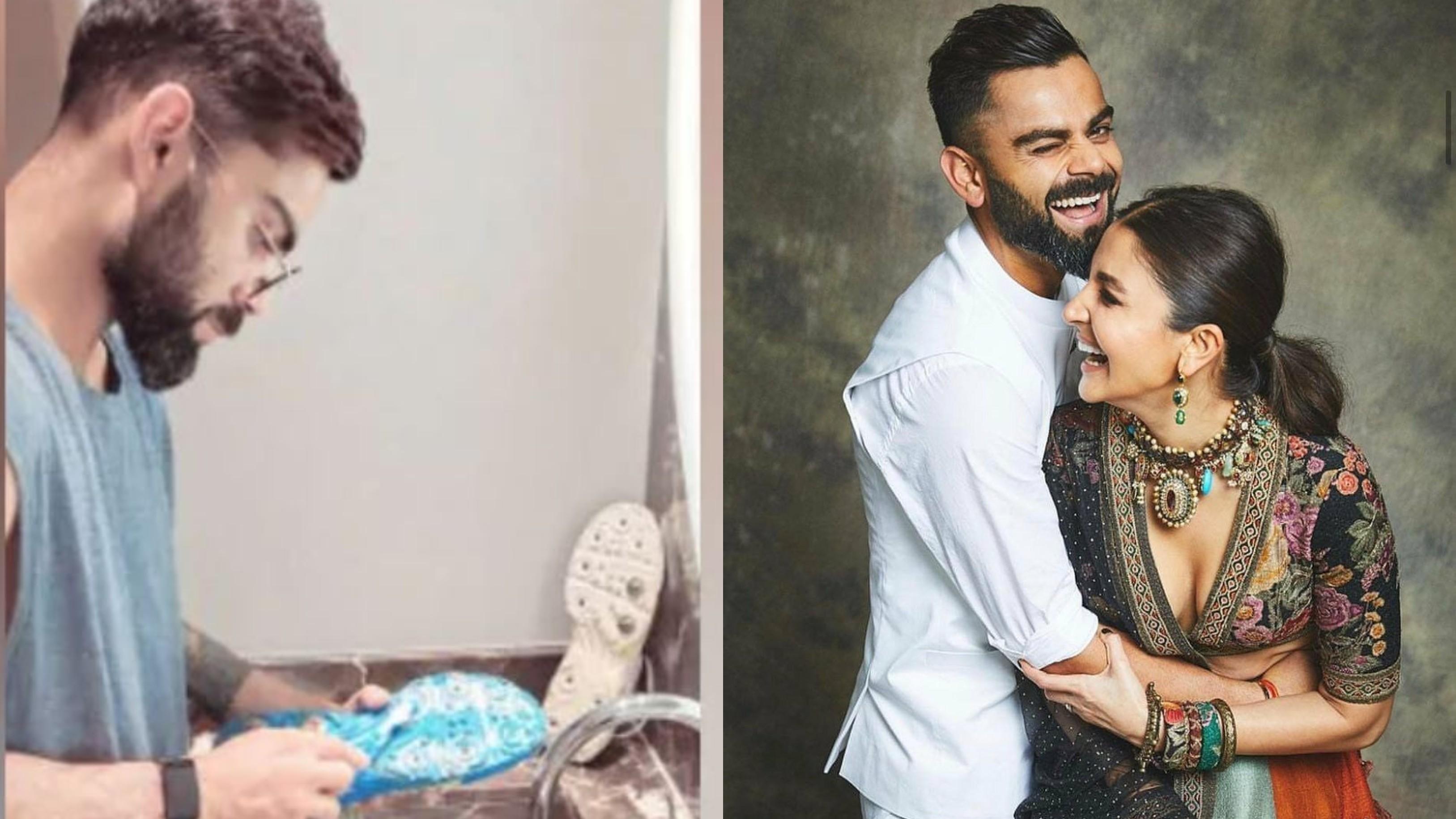 Anushka Sharma catches husband Virat Kohli