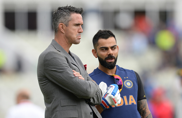 Kevin Pietersen and Virat Kohli having a chat before the India took on England in World Cup 2019 | Getty