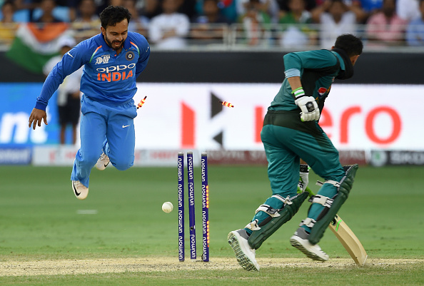 Kedar Jadhav finished with 3/23 against Pakistan in Dubai | Getty Images