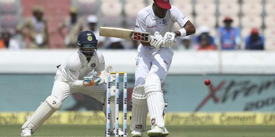 Roston Chase smacked his fourth Test century in Hyderabad