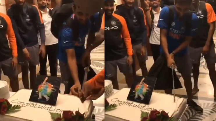 Asia Cup 2018: WATCH: Bhuvneshwar Kumar celebrated India's victory over Pakistan by cutting a cake with sword