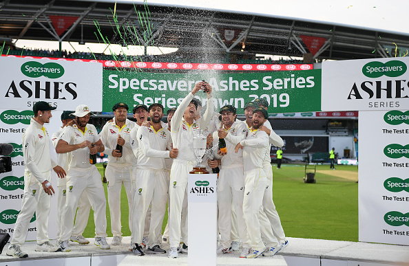 Tim Paine and Australia team rejoice as they retain the Ashes urn | Getty