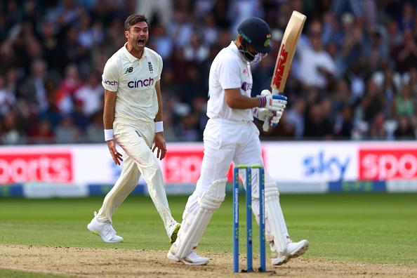 James Anderson celebrates Virat Kohli's wicket in Leeds Test   Getty
