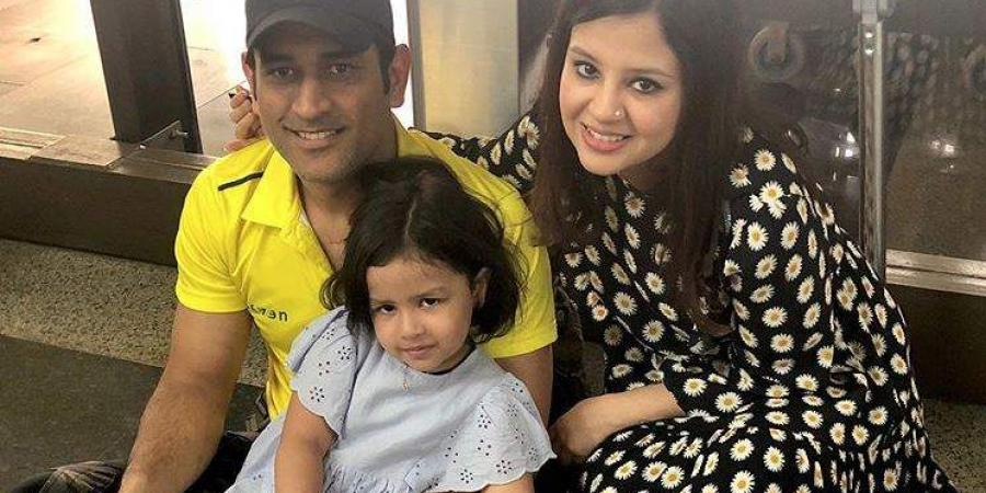 MS Dhoni with Sakshi and Ziva