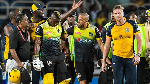 CPL 2019: Andre Russell escapes serious injury after taking a brutal blow on helmet